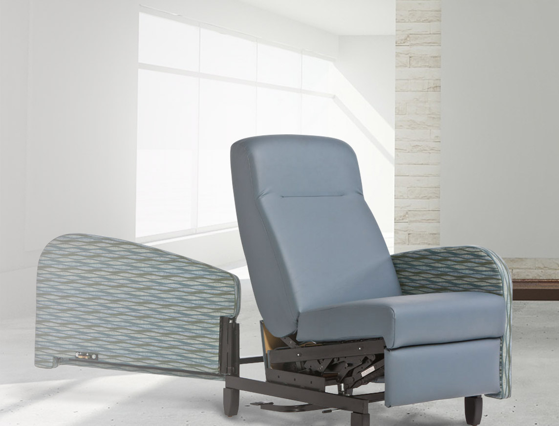 Infinite recline positions and either stationary or swing-away arms provide optimal patient comfort and better access for caregivers.